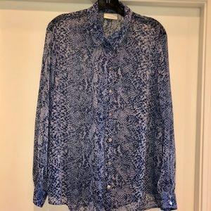 NWOT CHICOS SHEER BLUE BLOUSE